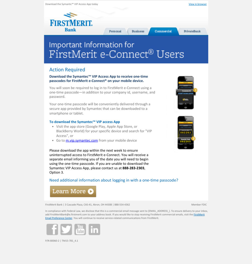 HTML Email example for FirstMerit e-Connect Users