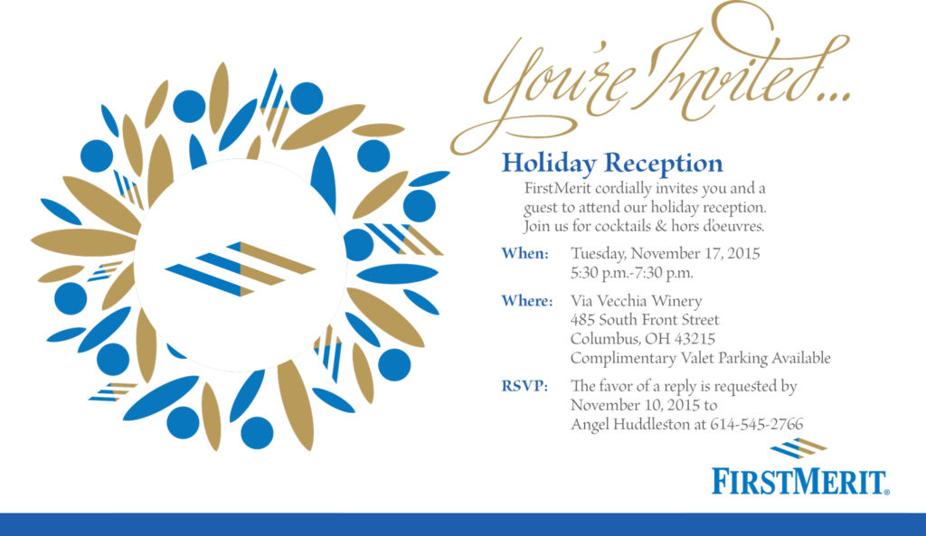 Invitation design for FirstMerit Holiday Reception