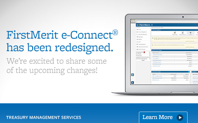 FirstMerit website rotator image for redesign of e-Connect