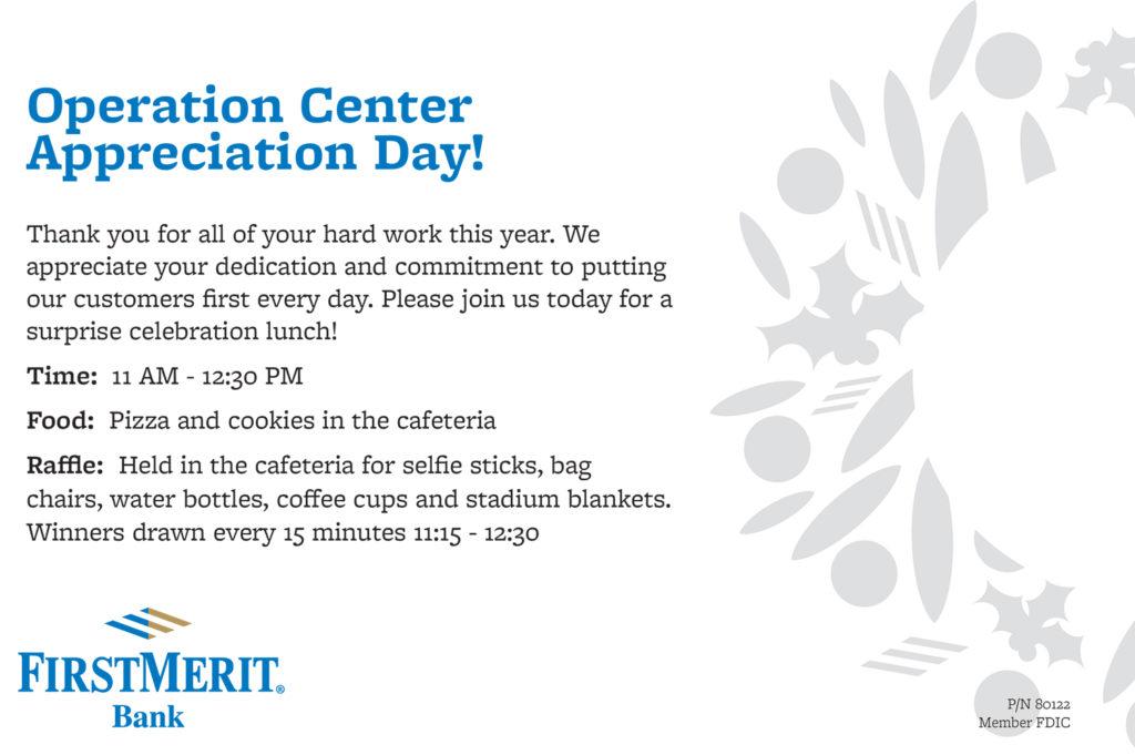 FirstMerit Operation Center Appreciation Day Invitation