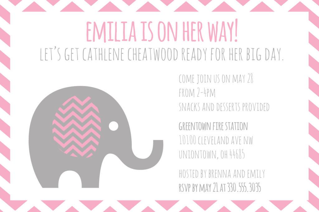 Elephant Baby Shower Invitation - Amanda Mason