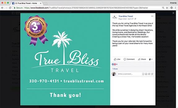 True Bliss Travel Facebook Screenshot
